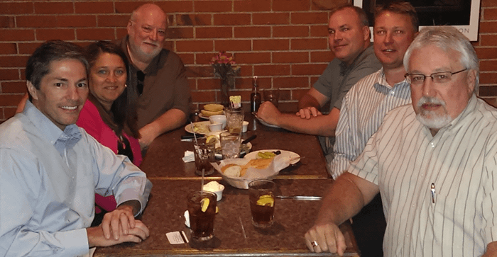 Lunch with management team members of Pro Food Systems. From left to right, me, Carla Dowden, Carl Christenson, John Bleidistel, Trevor Monnig, and Darrell Hale, the dean of the group. Sorry gang, no